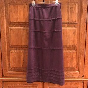 Denim & Company Long Purple Skirt Faux Suede